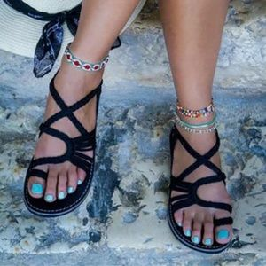 Shoes - Black braided cord sandals